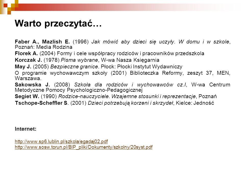 Warto przeczytać… Faber A., Mazlish E. (1996) Jak mówić aby dzieci się uczyły. W domu i w szkole, Poznań: Media Rodzina.
