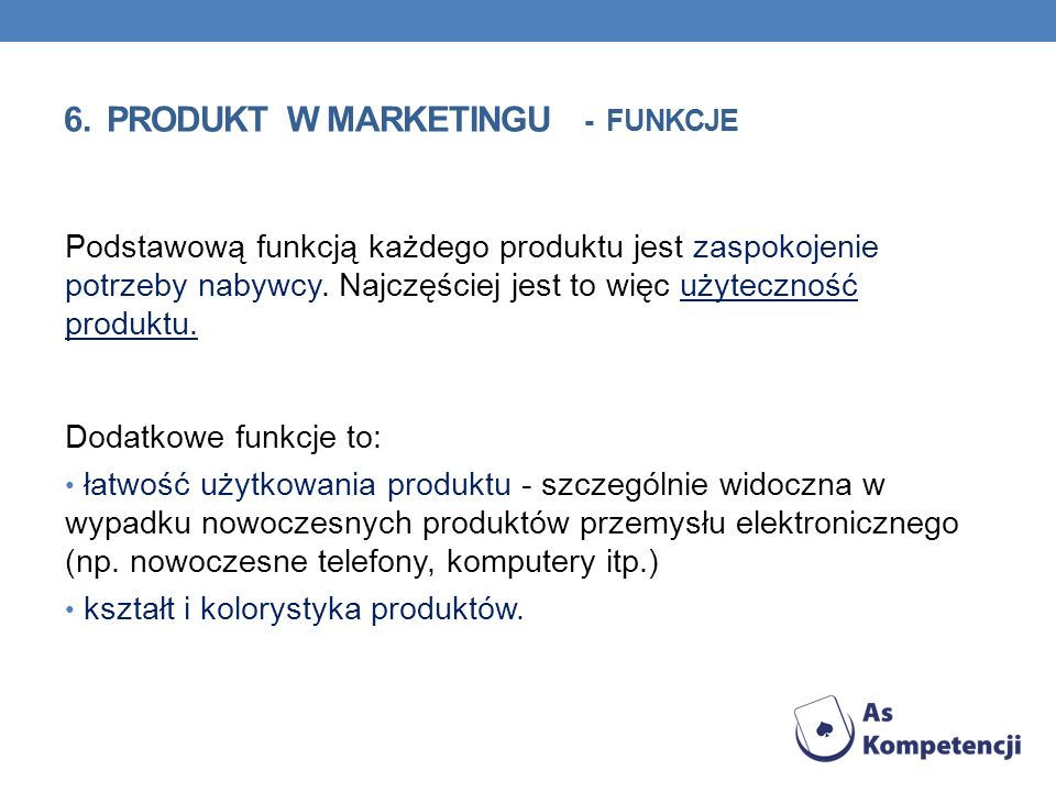 6. PRODUKT w marketingu - funkcje