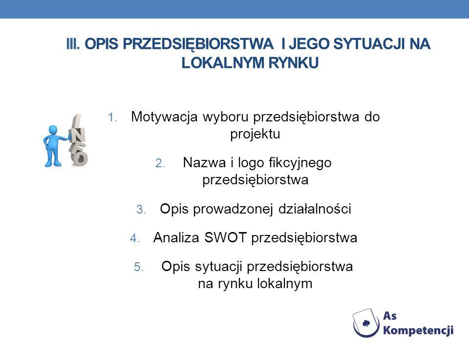 III. Opis przedsiębiorstwa i jego sytuacji na lokalnym rynku