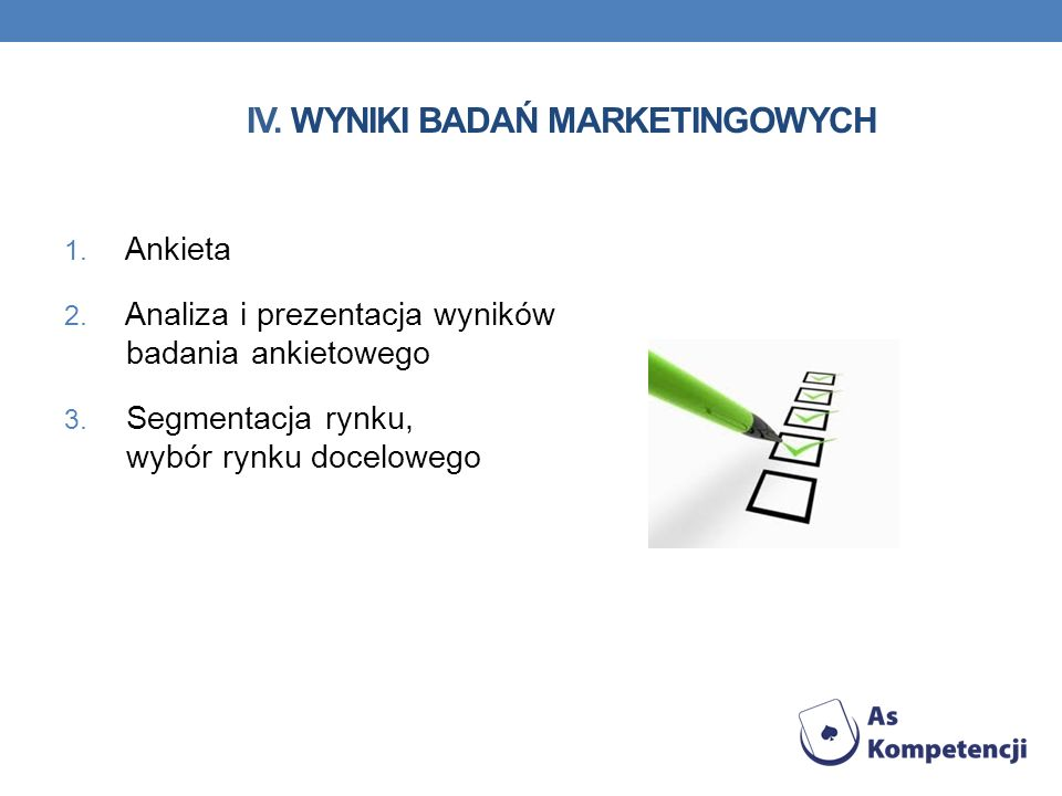 IV. Wyniki badań marketingowych