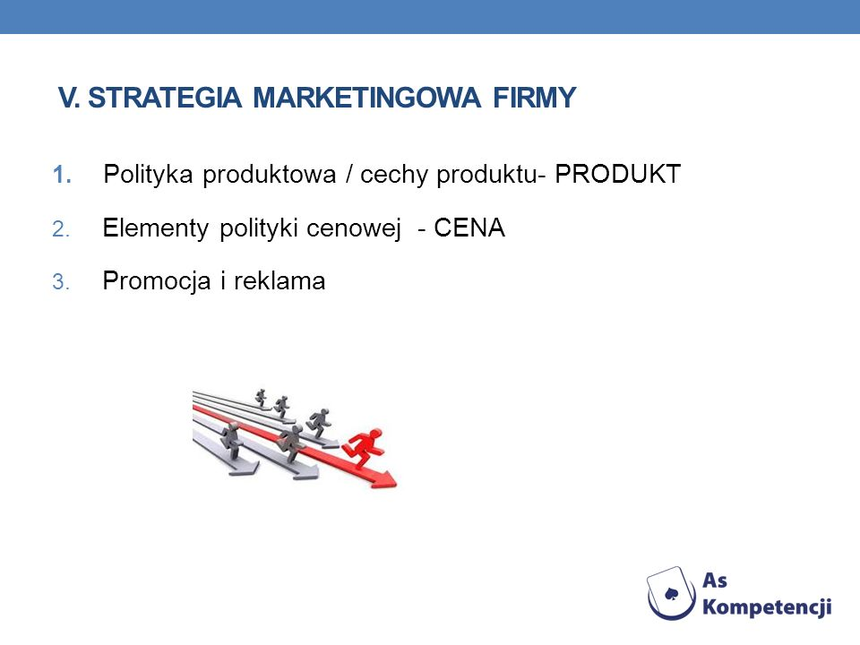 V. strategia marketingowa firmy