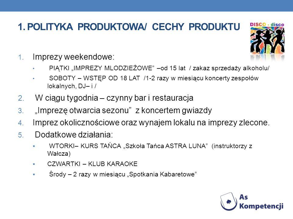 1. Polityka produktowa/ cechy produktu
