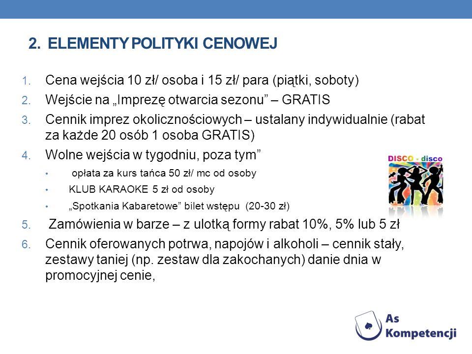 2. Elementy polityki cenowej