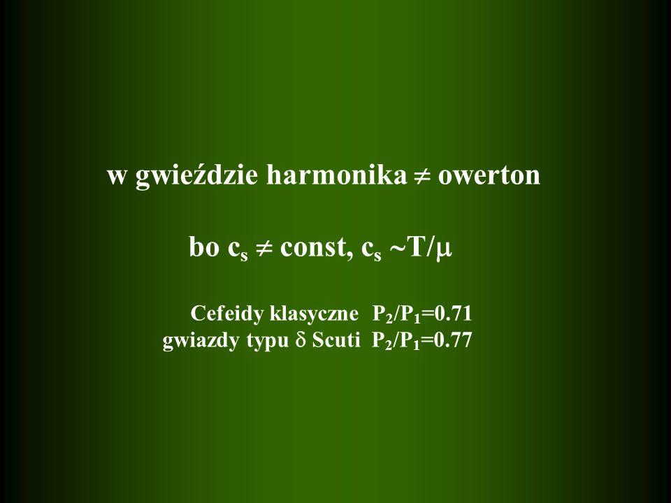 w gwieździe harmonika  owerton bo cs  const, cs T/