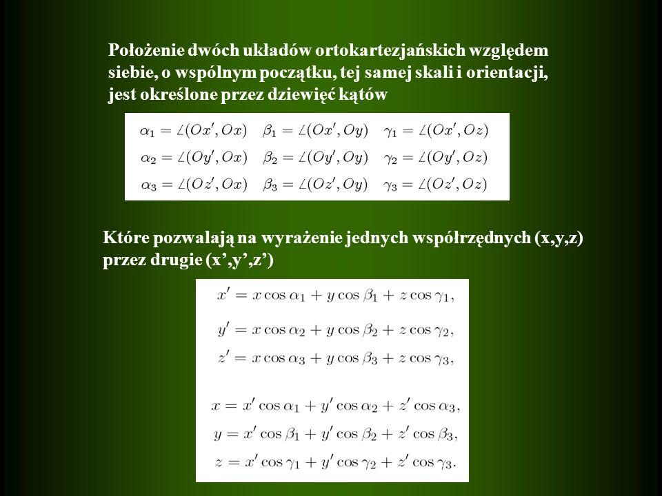 Położenie dwóch układów ortokartezjańskich względem