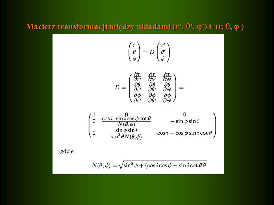 Macierz transformacji między układami (r ,  ,  ) i (r, ,  )
