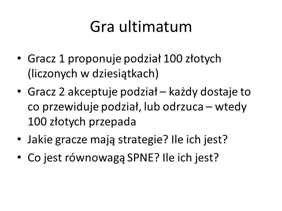 Gra ultimatum Gracz 1 proponuje podział 100 złotych (liczonych w dziesiątkach)