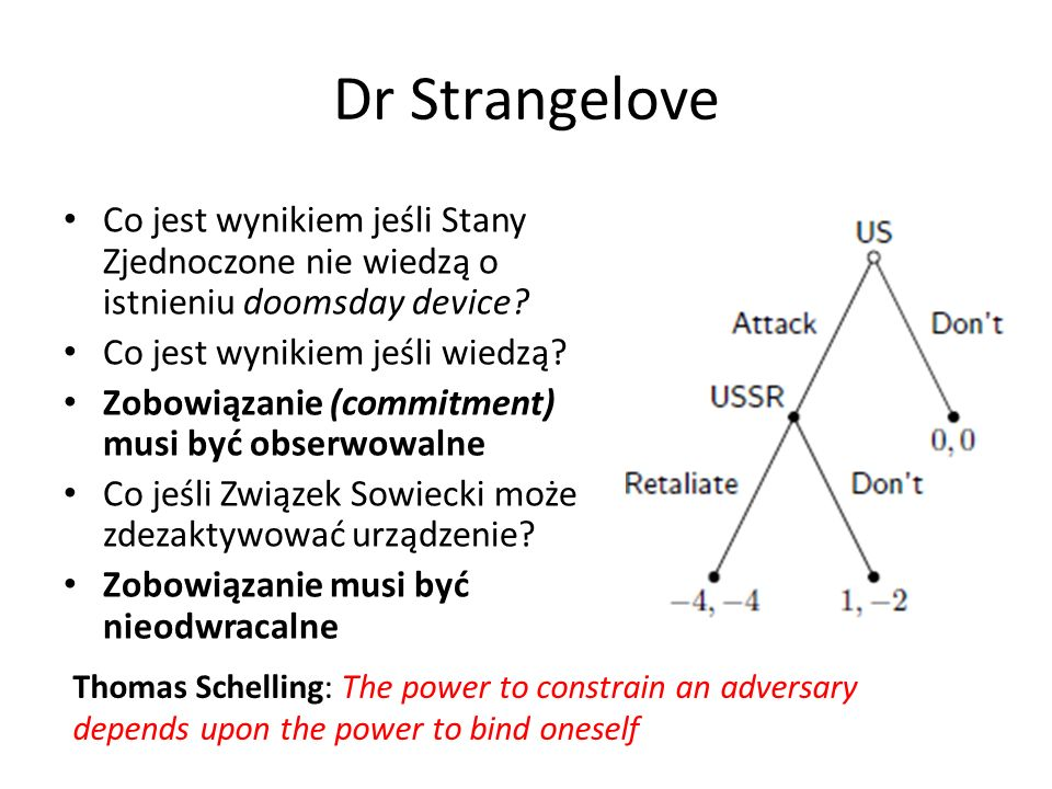 Dr Strangelove Co jest wynikiem jeśli Stany Zjednoczone nie wiedzą o istnieniu doomsday device Co jest wynikiem jeśli wiedzą