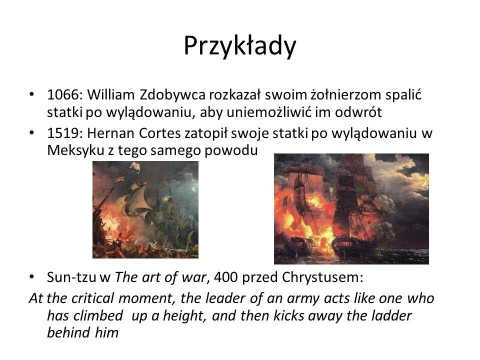 Przykłady 1066: William Zdobywca rozkazał swoim żołnierzom spalić statki po wylądowaniu, aby uniemożliwić im odwrót.