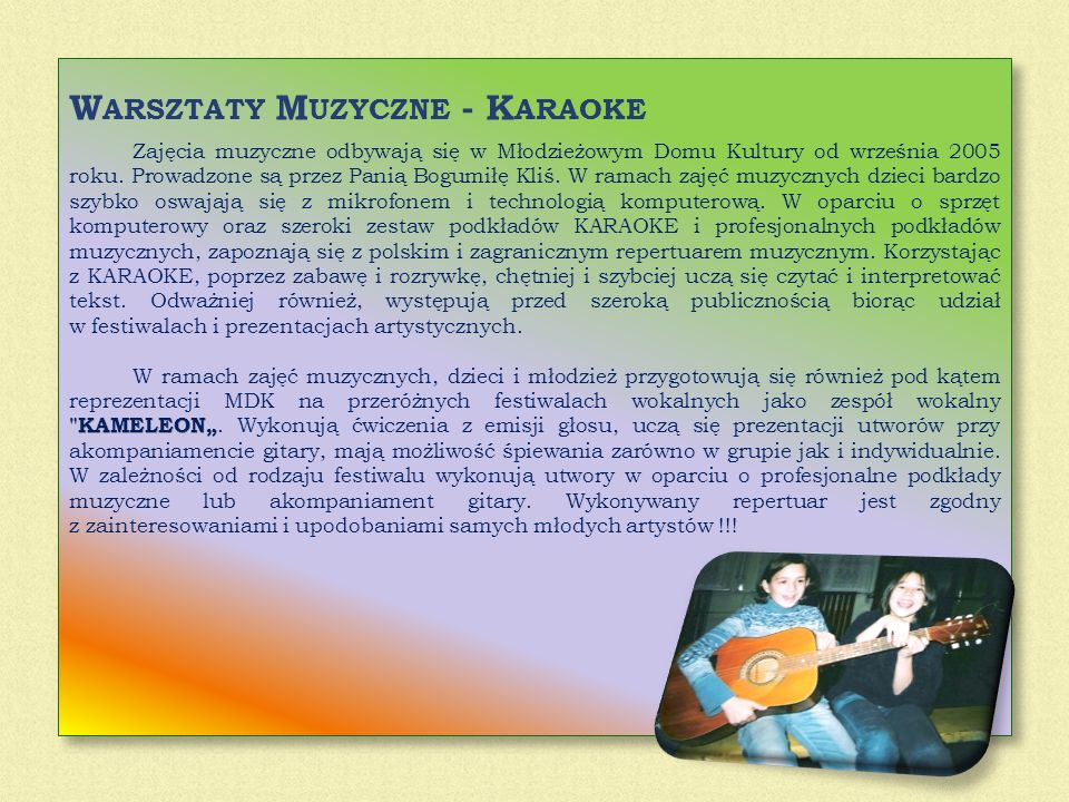 Warsztaty Muzyczne - Karaoke