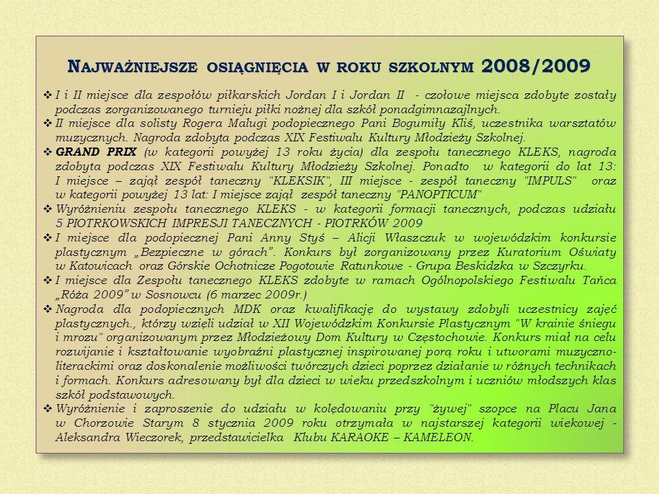 Najważniejsze osiągnięcia w roku szkolnym 2008/2009