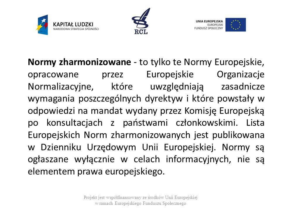 Normy zharmonizowane - to tylko te Normy Europejskie, opracowane przez Europejskie Organizacje Normalizacyjne, które uwzględniają zasadnicze wymagania poszczególnych dyrektyw i które powstały w odpowiedzi na mandat wydany przez Komisję Europejską po konsultacjach z państwami członkowskimi. Lista Europejskich Norm zharmonizowanych jest publikowana w Dzienniku Urzędowym Unii Europejskiej. Normy są ogłaszane wyłącznie w celach informacyjnych, nie są elementem prawa europejskiego.