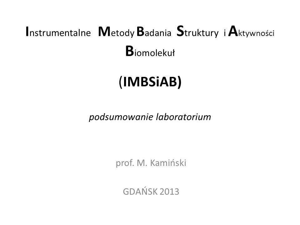 Instrumentalne Metody Badania Struktury i Aktywności Biomolekuł (IMBSiAB) podsumowanie laboratorium
