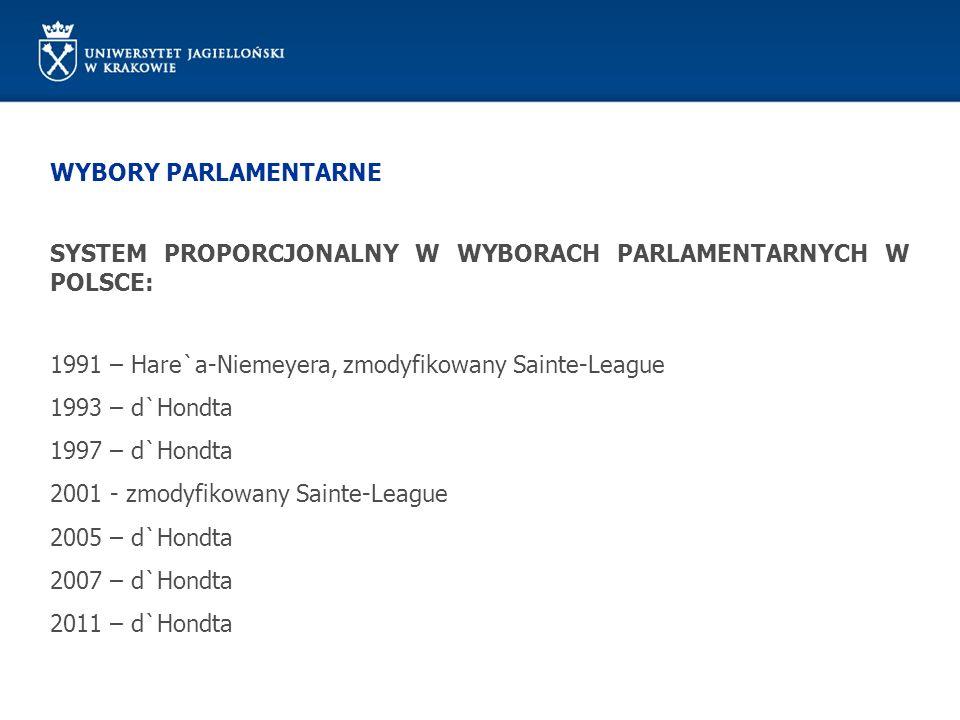 WYBORY PARLAMENTARNE SYSTEM PROPORCJONALNY W WYBORACH PARLAMENTARNYCH W POLSCE: 1991 – Hare`a-Niemeyera, zmodyfikowany Sainte-League.