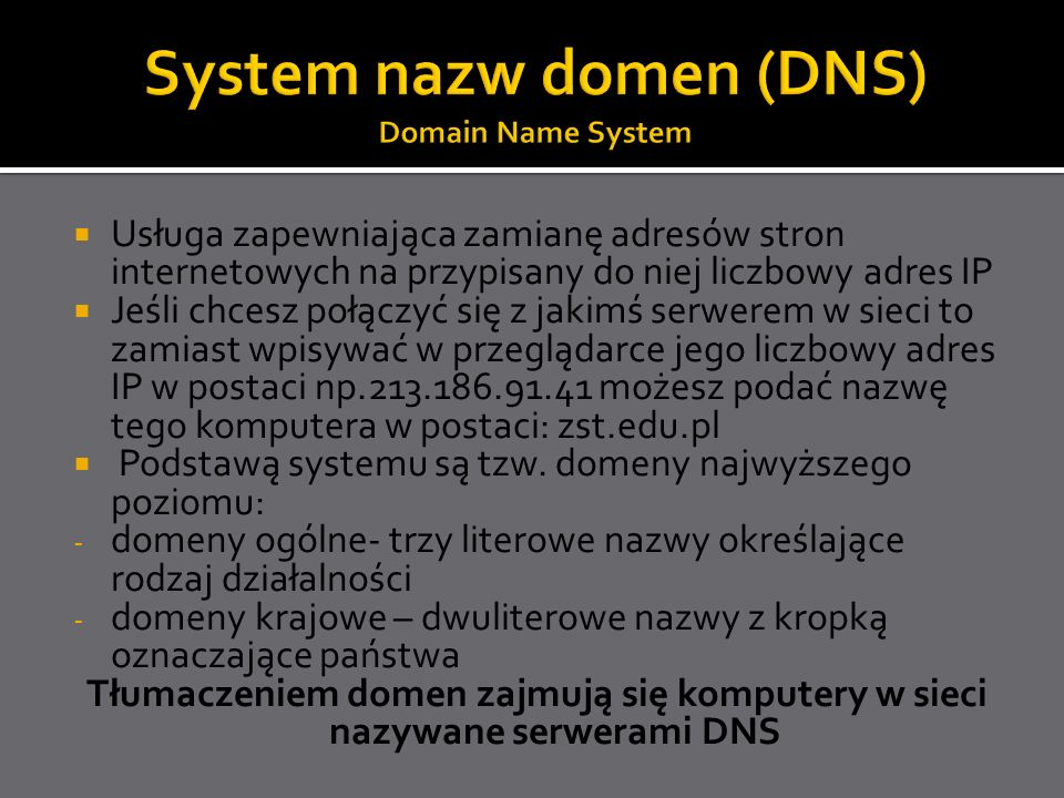 System nazw domen (DNS) Domain Name System