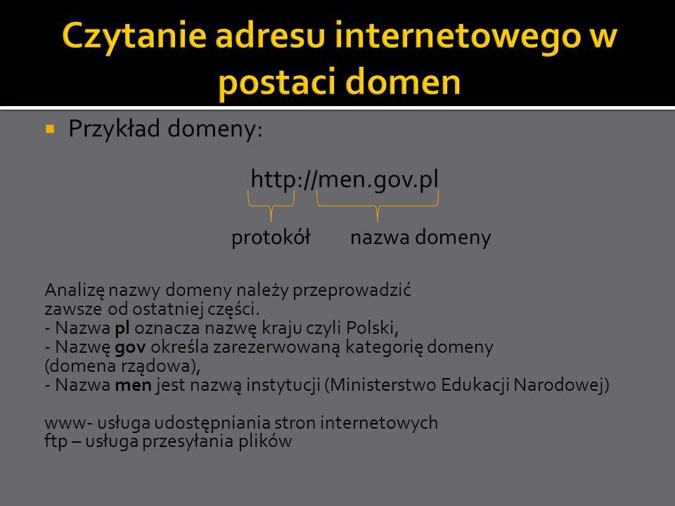 Czytanie adresu internetowego w postaci domen
