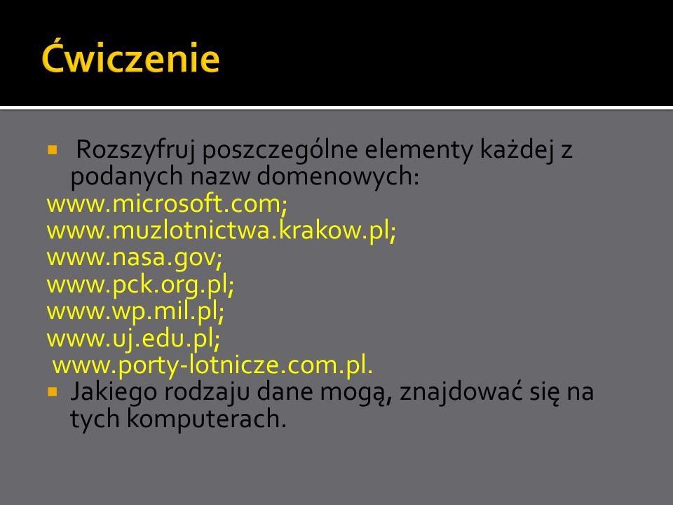Ćwiczenie Rozszyfruj poszczególne elementy każdej z podanych nazw domenowych: www.microsoft.com; www.muzlotnictwa.krakow.pl;