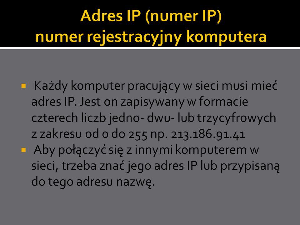Adres IP (numer IP) numer rejestracyjny komputera
