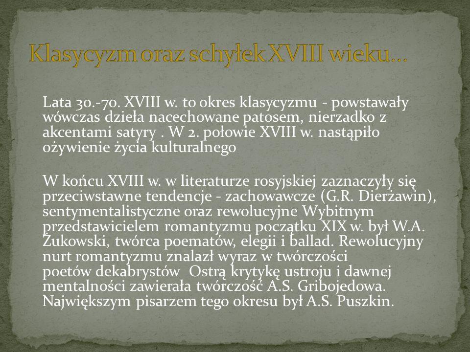 Klasycyzm oraz schyłek XVIII wieku…