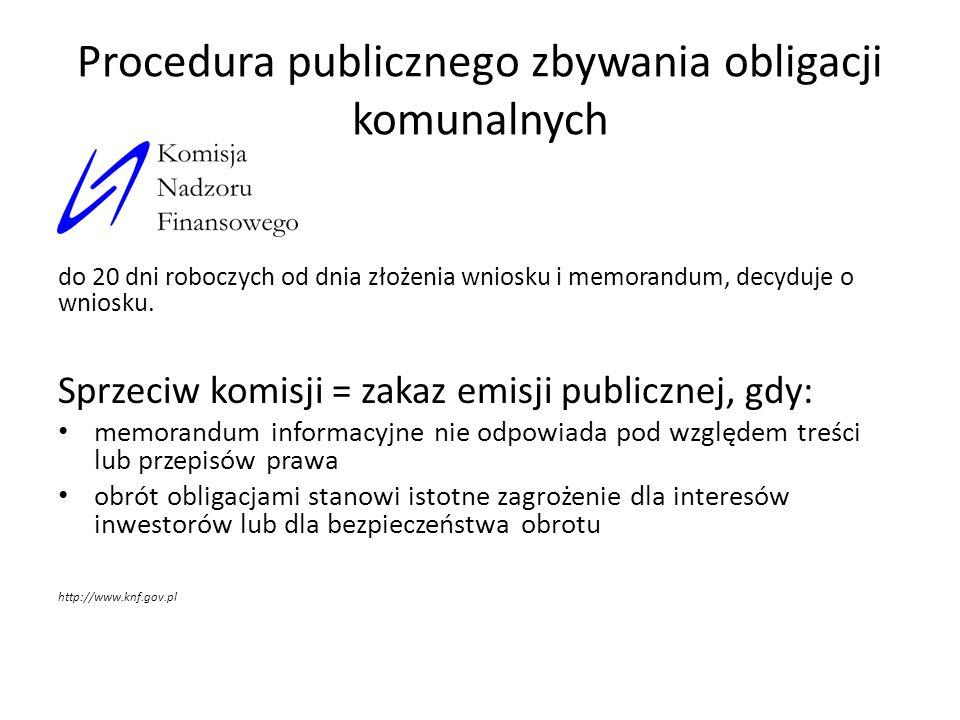 Procedura publicznego zbywania obligacji komunalnych