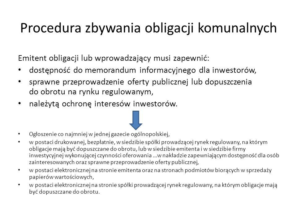 Procedura zbywania obligacji komunalnych