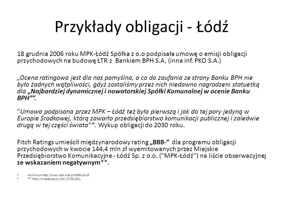 Przykłady obligacji - Łódź