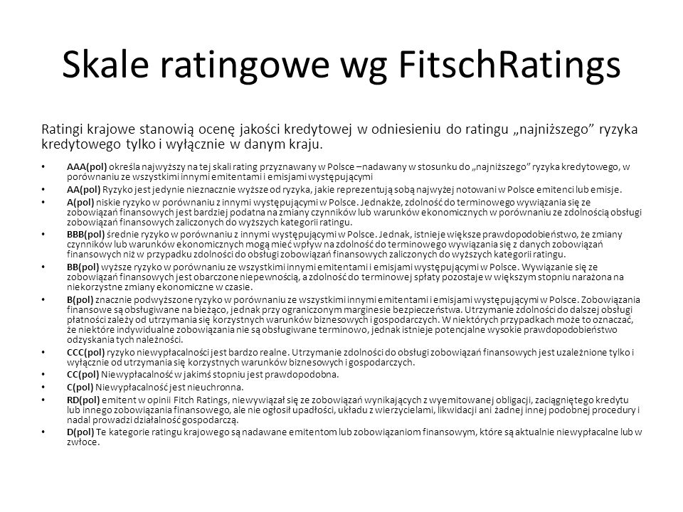 Skale ratingowe wg FitschRatings