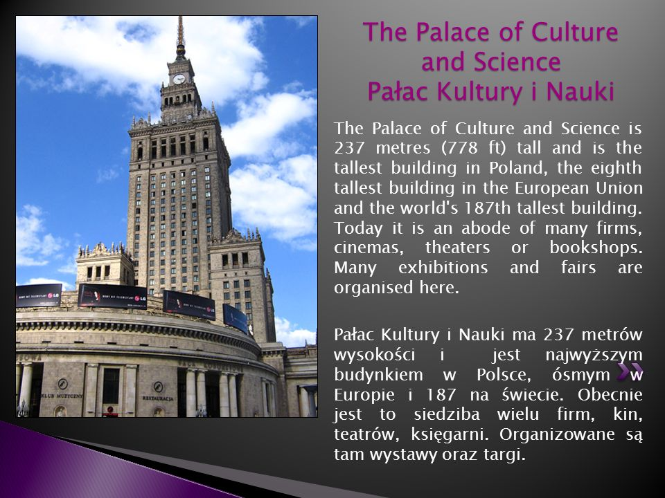 The Palace of Culture and Science Pałac Kultury i Nauki