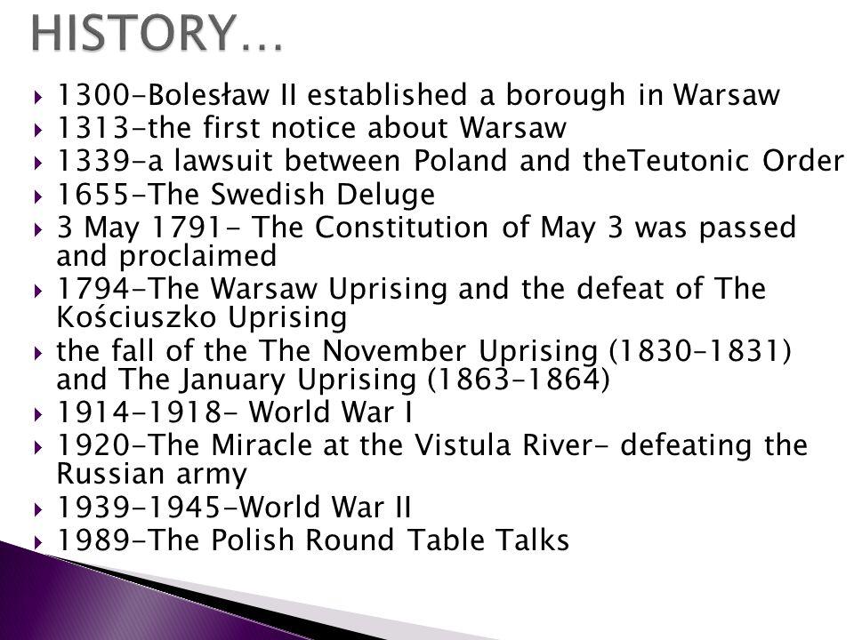 HISTORY… 1300-Bolesław II established a borough in Warsaw