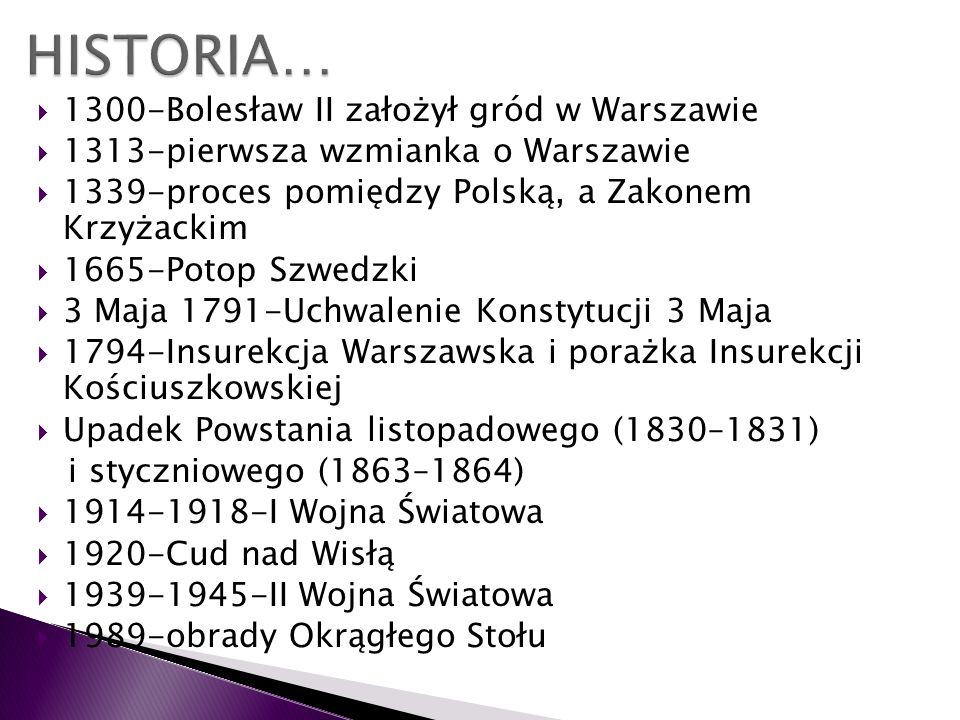 HISTORIA… 1300-Bolesław II założył gród w Warszawie