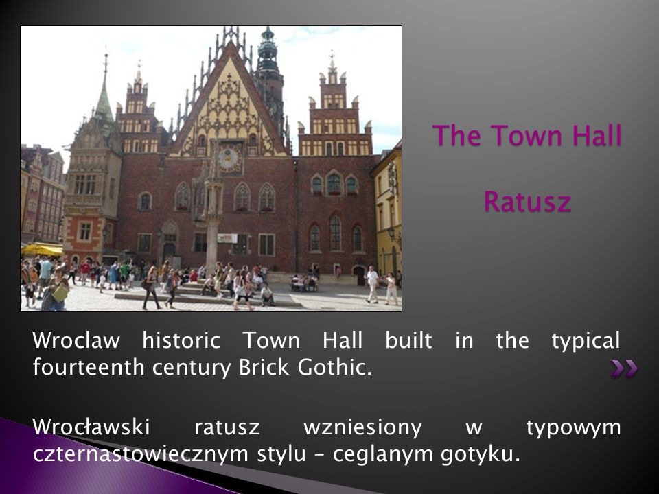 The Town Hall Ratusz Wroclaw historic Town Hall built in the typical fourteenth century Brick Gothic.