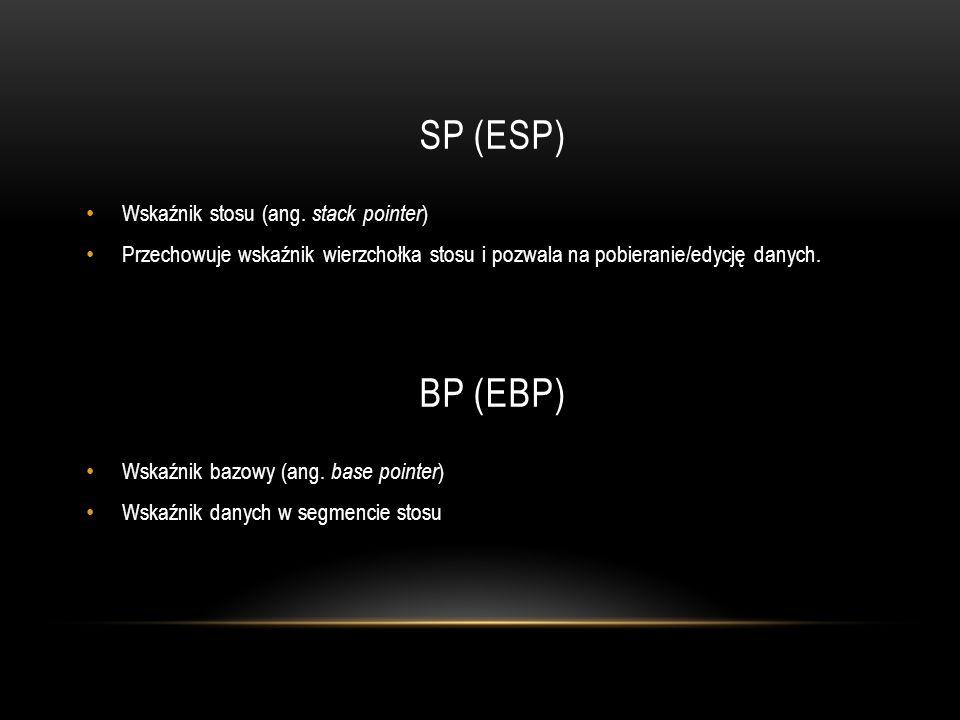 SP (ESP) BP (EBP) Wskaźnik stosu (ang. stack pointer)