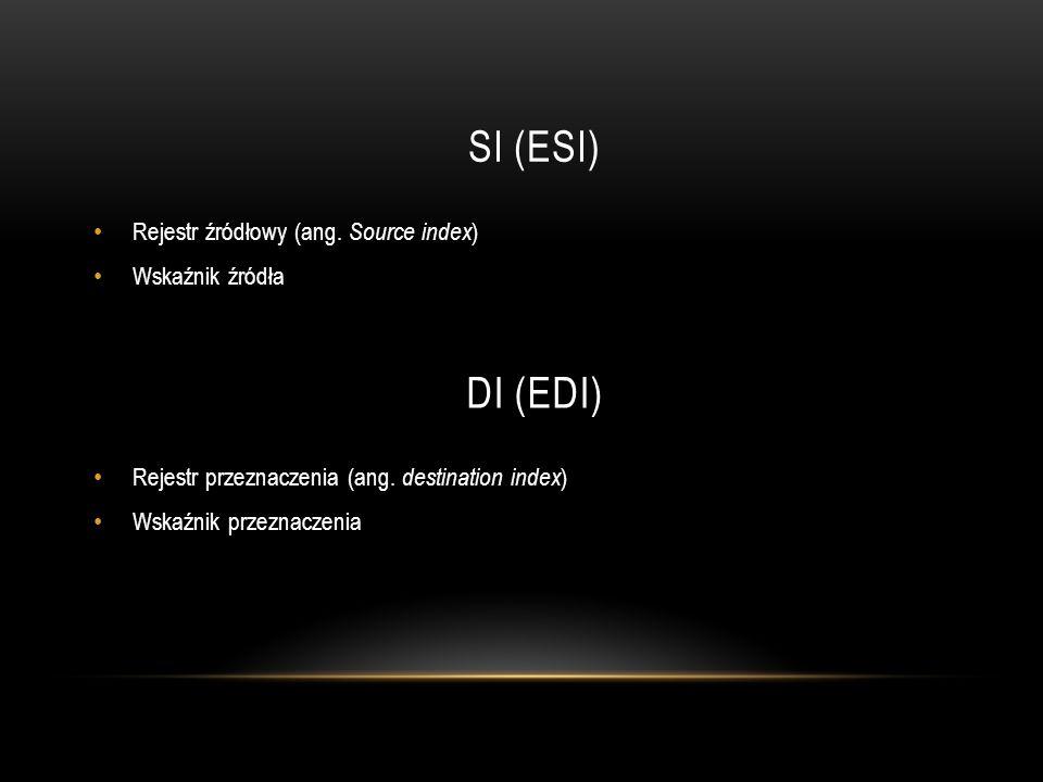 SI (ESI) DI (EDI) Rejestr źródłowy (ang. Source index) Wskaźnik źródła