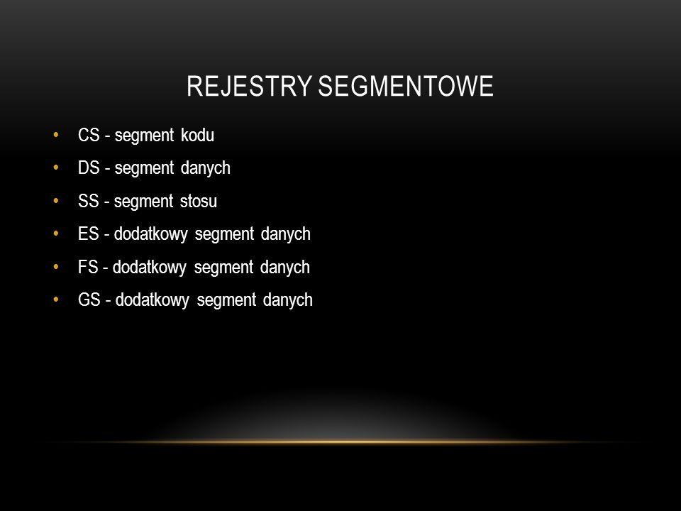 REJESTRY SEGMENTOWE CS - segment kodu DS - segment danych
