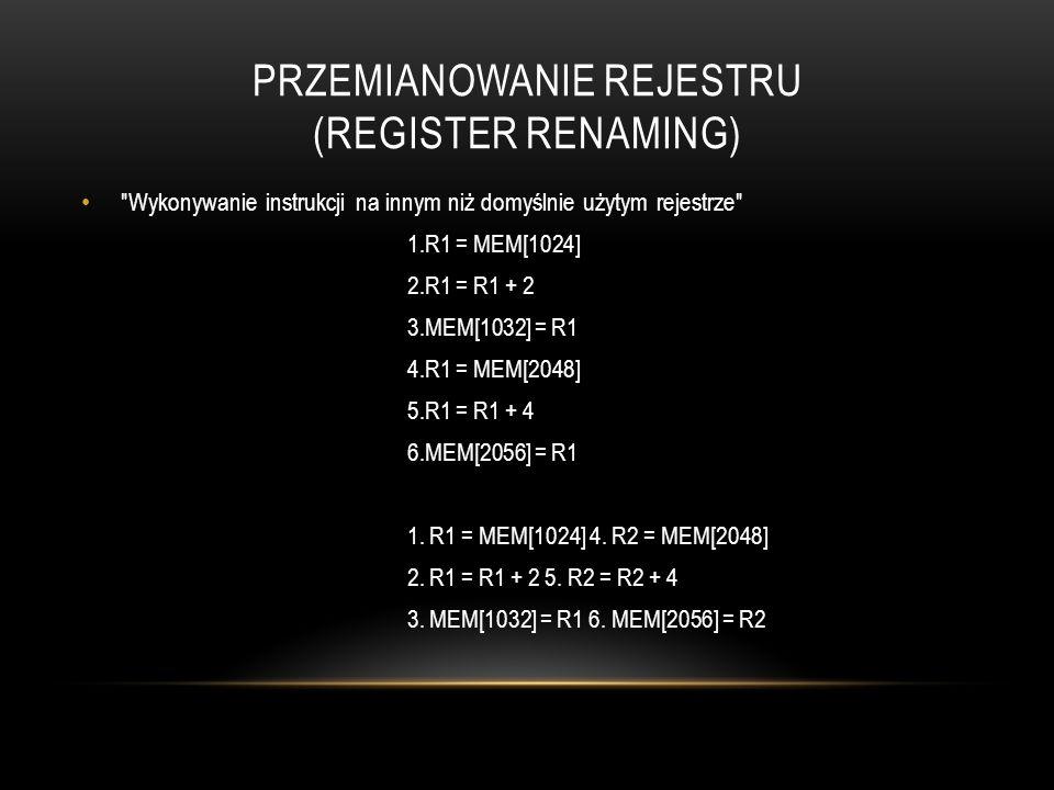Przemianowanie REJESTRU (REGISTER RENAMING)