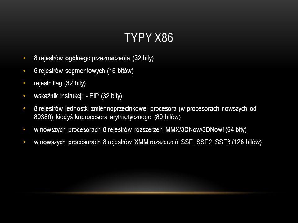 TYPY x86 8 rejestrów ogólnego przeznaczenia (32 bity)
