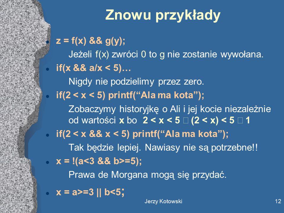 Znowu przykłady z = f(x) && g(y);