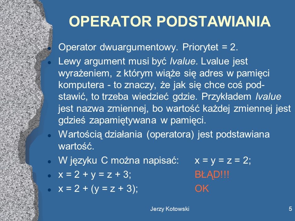 OPERATOR PODSTAWIANIA