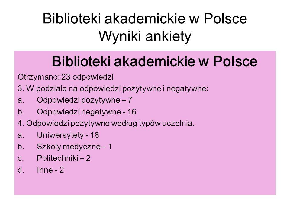 Biblioteki akademickie w Polsce Wyniki ankiety