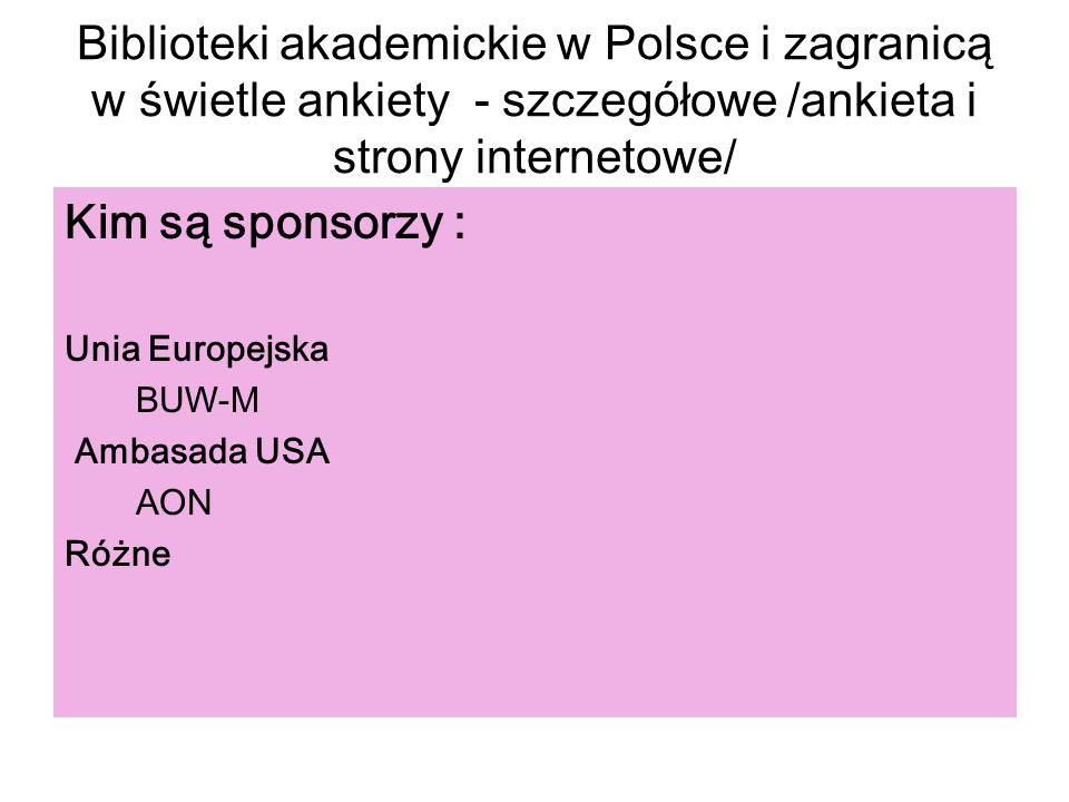 Biblioteki akademickie w Polsce i zagranicą w świetle ankiety - szczegółowe /ankieta i strony internetowe/