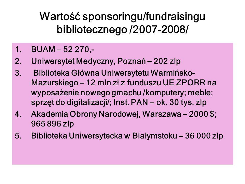 Wartość sponsoringu/fundraisingu bibliotecznego /2007-2008/
