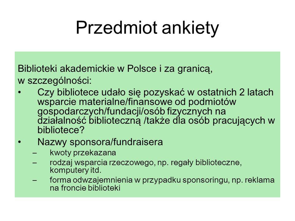 Przedmiot ankiety Biblioteki akademickie w Polsce i za granicą,
