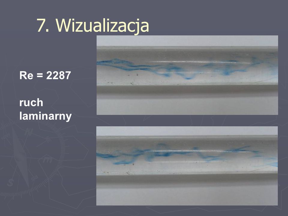 7. Wizualizacja Re = 2287 ruch laminarny