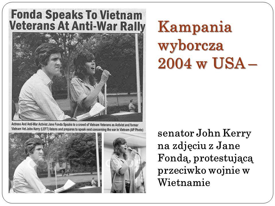 Kampania wyborcza 2004 w USA – senator John Kerry na zdjęciu z Jane Fondą, protestującą przeciwko wojnie w Wietnamie