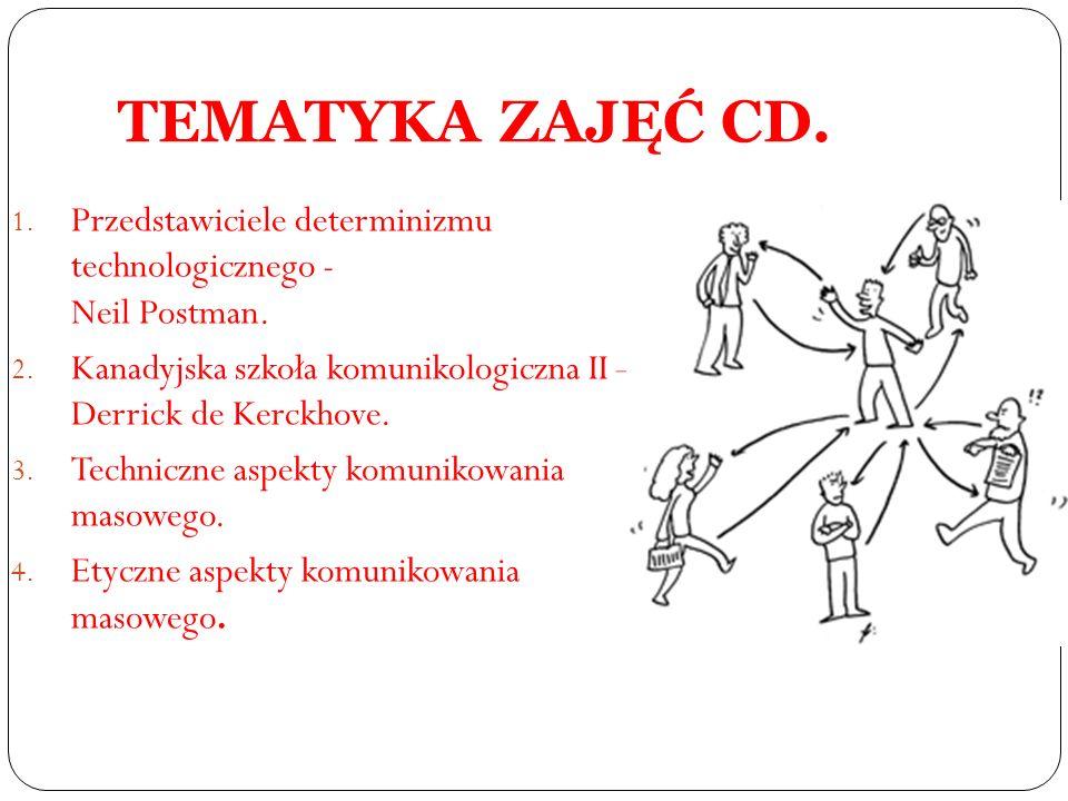 TEMATYKA ZAJĘĆ CD. Przedstawiciele determinizmu technologicznego - Neil Postman. Kanadyjska szkoła komunikologiczna II – Derrick de Kerckhove.