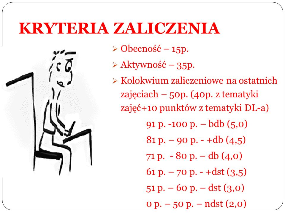 KRYTERIA ZALICZENIA Obecność – 15p. Aktywność – 35p.