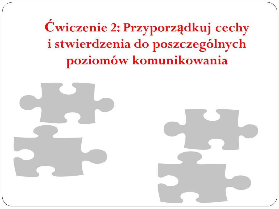 Ćwiczenie 2: Przyporządkuj cechy i stwierdzenia do poszczególnych poziomów komunikowania