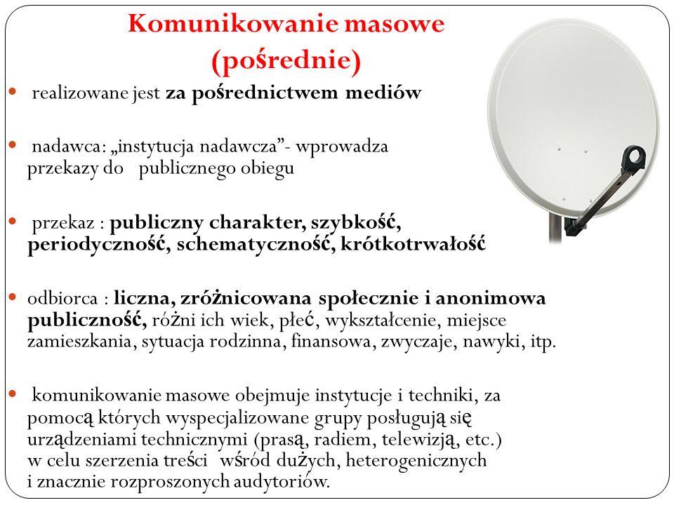 Komunikowanie masowe (pośrednie)