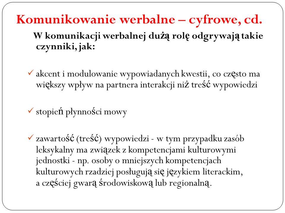 Komunikowanie werbalne – cyfrowe, cd.