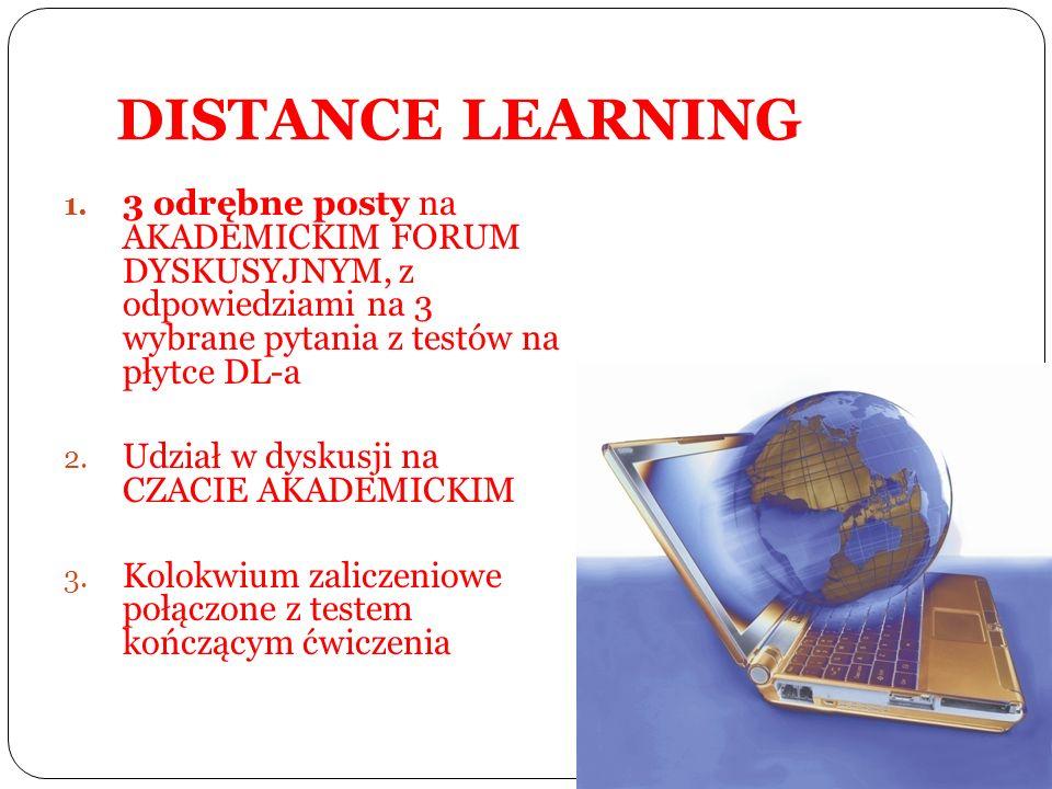 DISTANCE LEARNING 3 odrębne posty na AKADEMICKIM FORUM DYSKUSYJNYM, z odpowiedziami na 3 wybrane pytania z testów na płytce DL-a.
